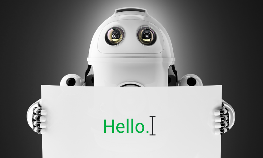 Robot saying hello