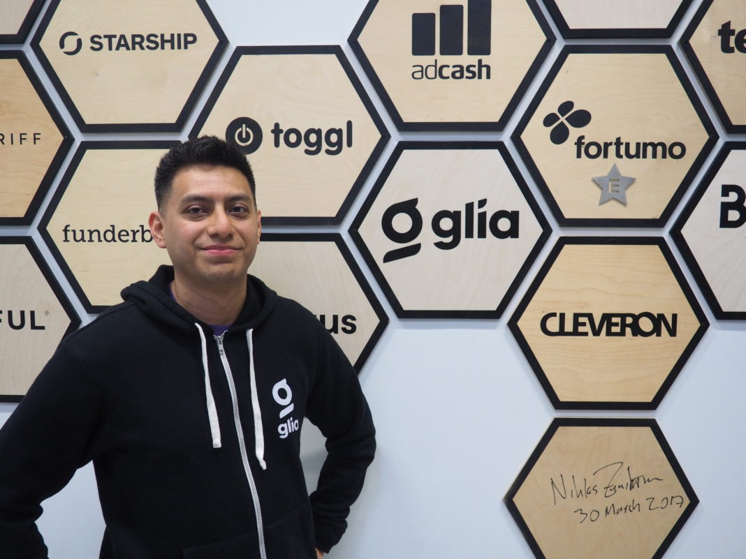 Glia has been added to the Estonian Startup Wall of Fame. Pictured here: Carlos Paniagua, CTO Glia